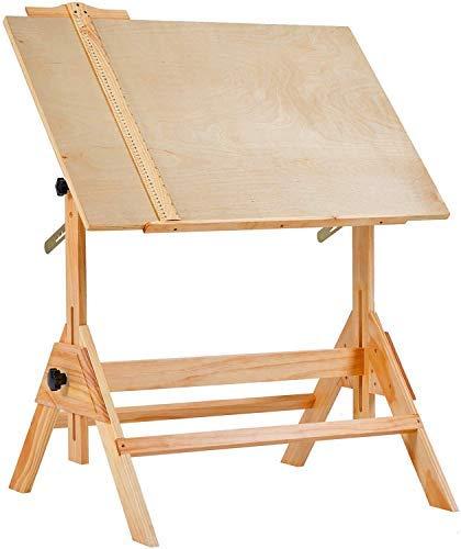 MEEDEN Mesa de dibujo de madera maciza,...